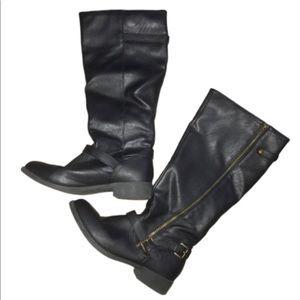 brash knee high black boots